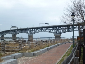 The Coleman Bridge looms over Historic Yorkdown