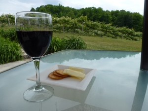 Wine and cheese for lunch.  And a great view!