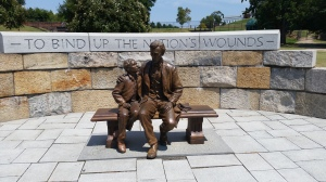A recent statue commemorating President Lincoln and his son's visit to Richmond days after its fall.