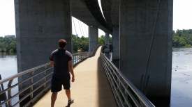A walkway over the James gets you to Belle's Island